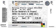 Football Ticket BOLTON WANDERERS v ARSENAL Jan 2012