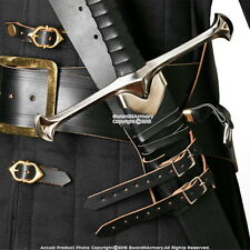 Black Genuine Leather Sword Belt Frog Hanger Baldric Renaissance Costume LARP