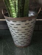 "14 3/4"" TALL Olive Bucket w/ Handle Basket Gathering Farmhouse Decor Galvanized"