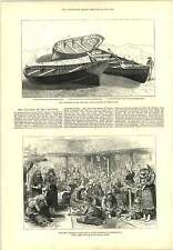 1877 Channel Disaster Chesil Bank Bulgarian Refugees Philippopolis Engraving