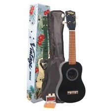 Vintage VUK20BK Ukulele + Carry Bag, Tuner, Pitch Pipe and Pick - Midnight Black