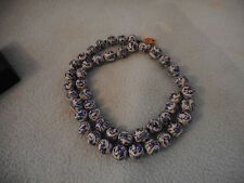 Vintage Chinese Blue & White Porcelain Bead Hand Painted  Necklace