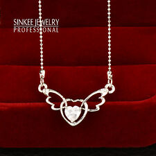 Fashion Hollow Angel Wings Rhinestone Heart Choker Necklace Silver Plated XL407