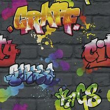 BLACK GRAFFITI WALLPAPER ROLLS - RASCH 237801 - NEW TEENAGE ROOM DECOR