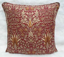 William Morris Fabric Cushion Cover 'Snakeshead' Claret/Gold - Linen Blend