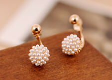 NiX 1336 New Gold Plated Double Side White Pearl Flower Earring Pearl Gift Women