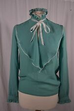 VINTAGE 1980s DEBENHAMS green frilled shirt blouse size 10 bib front pie crust