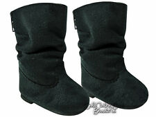 """Black Faux Suede Slouchy Boots made for 18"""" American Girl Doll Clothes"""