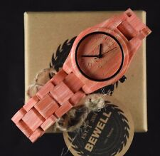 Women's Casual Wooden Watch Pink Bamboo Round Face 33MM Wide - By Bewell