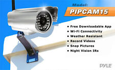 Pyle PIPCAM15 Wireless Outdoor IP Security Camera Wireless Pan/Tilt FREE APP