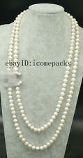 """2rows freshwater pearl white  near round 8-9mm  necklace  wholesale beads 23-28"""""""