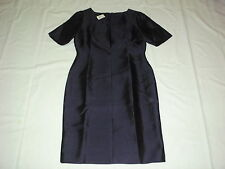 NEW $199 TALBOTS Blue Silk Blnd Doupioni V-Neck Sheath Dress Sz 6P,6 Petite