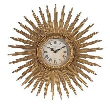 40CM Sunburst Gold Wall Clock Distressed Art Deco Starburst Vintage Quality