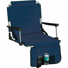 Blue Stadium Cushion Chair w/ Arm Rest Cup Holder, Bleacher Bench Fold Seat Pad