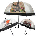 Transparent Clear Dome Shape Umbrella Printed Rain Brolly Ladies Gents London