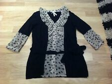 Next Angora Cardigan Jumper Black Cream Swallow Bird Small 6 8 10 Belt