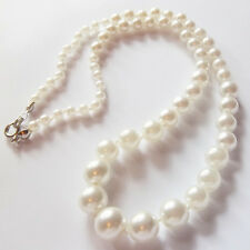 WHITE Graduated Glass Faux Pearl 17 inch 4-10mm Beads hand knotted NECKLACE P12