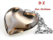 c004541 Champagne Heart Silver Backing Crystal Glass Bead Pendant Necklace Chain