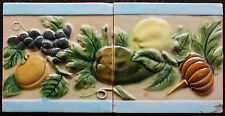 2 Jugendstil Fliesen original um 1900 Relief D28 Art Nouveau tile Belgien