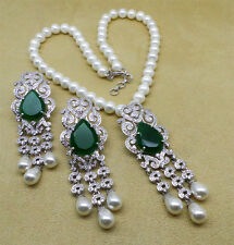 Simulated Cubic Diamond Emerald Pearl Strand Necklace Earrings Set 1116 0N 02