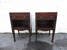 Pair of Tall Mahogany Inlaid Nightstands End Side Tables 8136