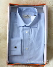 NIB Authentic HERMES Dress Shirt Blue Stripe Rayures Sellier Cuff Poplin MOP 39
