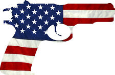 "American Flag Pistol USA Gun Protection Rights 2nd Amendment Decal 5"" Wide"