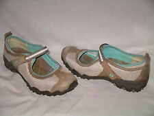 SKECHERS Beige Brown Mesh & Leather Mary Jane Shoes w/ VELCRO Straps 9.5 M - EUC