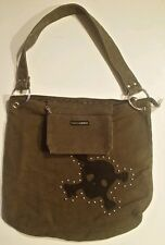"Fashion Express Brown Denim Bag 14 x 14"" Gothic Steam Punk Jolly Roger Riveted"