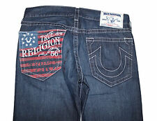 AUTH $246 True Religion Men's Straight Patriotic Flag Pocket Jeans 34