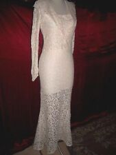 AUTHENTIC 1930'S VINTAGE ALL LACE BIAS WEDDING DRESS & MATCH JACKET S M