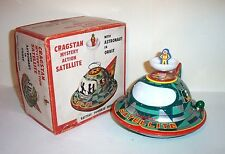RARE 1960's CRAGSTAN MYSTERY ACTION SATELLITE WITH ASTRONAUT IN ORBIT TIN TOY