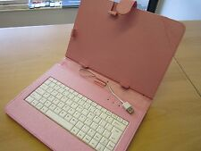 "Pink Mini USB Keyboard Case/Stand for 10"" Android Tablet PC"