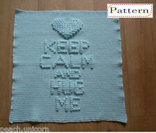 Keep Calm and Hug Me Baby Blanket Afghan Crochet PATTERN by Peach.Unicorn