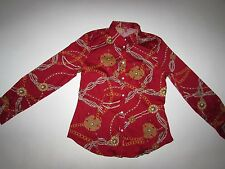 Talbots Women's Button Down Shirt Size 10 NWT Long Sleeves Red Chain Pattern $69