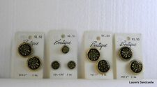 """Gold Rose on Black Lansing """"Boutique"""" Buttons NEW! Six 1"""" & Three 5/8"""" Vintage"""