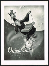 1950's Vintage 1955 Ogival Automatic Watch Mid Century Wizard Space Art Print AD