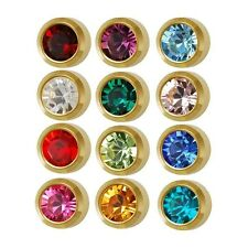 Caflon Ear Piercing Bezel Earrings Studs 4mm Assorted Colors Gold Plated 12 Pr