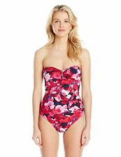 NEW Calvin Klein Bandeau One-Piece Swimsuit Ruched Floral Strawberry Size 4