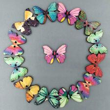 50Pcs Lot Mixed Bulk Butterfly Phantom Wooden Sewing Buttons Scrapbooking 2 Hole