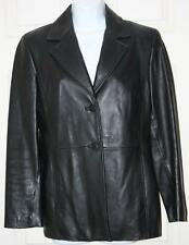 "VALERIE STEVENS Black Leather Jacket Small Coat Button Front Chest: 39"" Womens"