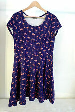 SOUTH dress, size 14, shift style, deep blue with pink flamingo