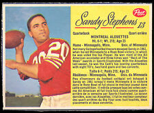 1963 POST CFL FOOTBALL #13 SANDY STEPHENS EX+ MONTREAL ALOUETTES UNIV MINNESOTA