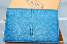 Tod's Men's Wallet Credit Card Case Blue Bi-Fold CC Holder Leather NWT