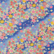 Sakura Diagonal Floral Blue Japanese Cotton Fabric Per Half Metre 50cm - TG102