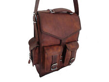 Mens Leather Laptop Vintage Backpack Shoulder Messenger Bag Rucksack Sling Bag