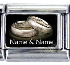 2 Custom Names Wedding Rings 9mm Italian Photo Charm