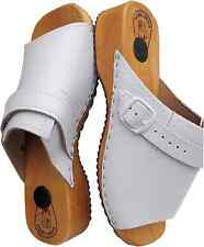 HOLZ (e) CLOGS / Holz PantoletteGr.40  LEDER+Weiss (Made in Poland 05.02)