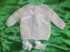 brassiere laine layette bébé naissance tricotée main france blanche et chaussons