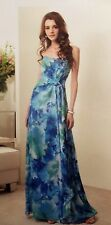 Belsoie Bridesmaid Strapless Dress Chiffon Floor Length Tahiti Blue Size 14